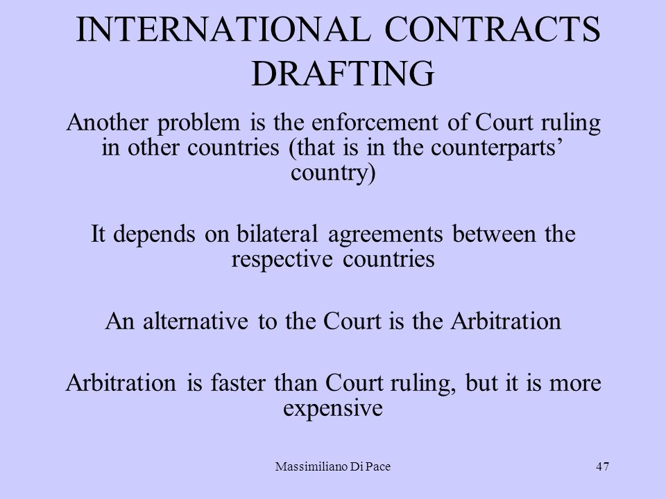 international contract International contracts involving sale as well as purchase of goods or services are governed by the united nations convention on contracts for the international sale of goods from 1980.