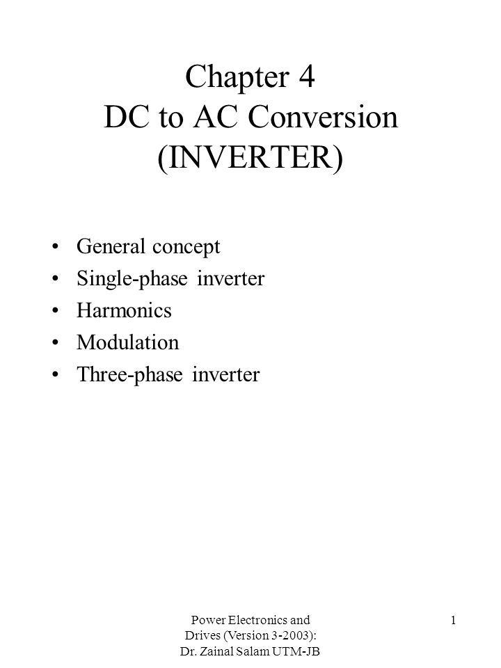Chapter 4 DC to AC Conversion (INVERTER)