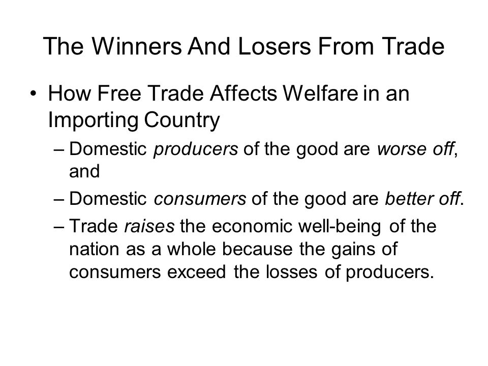 The Winners And Losers From Trade