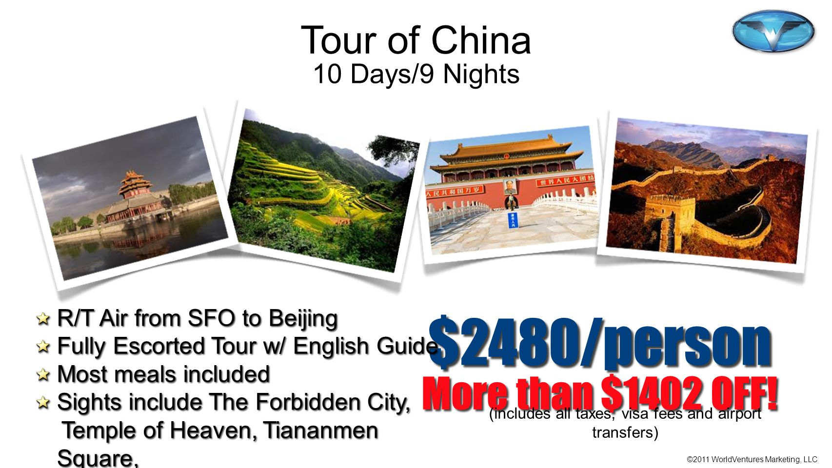(includes all taxes, visa fees and airport transfers)