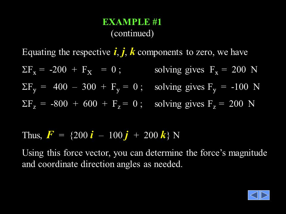 Equating the respective i, j, k components to zero, we have