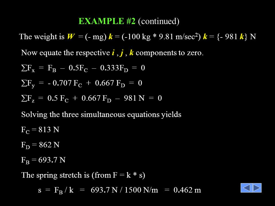 EXAMPLE #2 (continued) The weight is W = (- mg) k = (-100 kg * 9.81 m/sec2) k = {- 981 k} N.