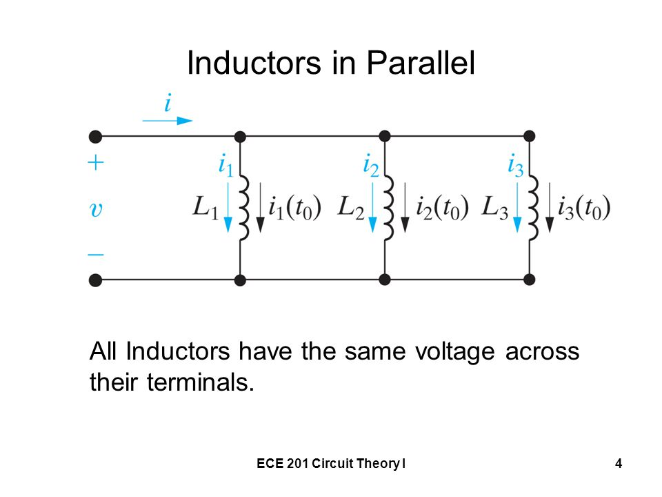 Inductors in Parallel All Inductors have the same voltage across their terminals.