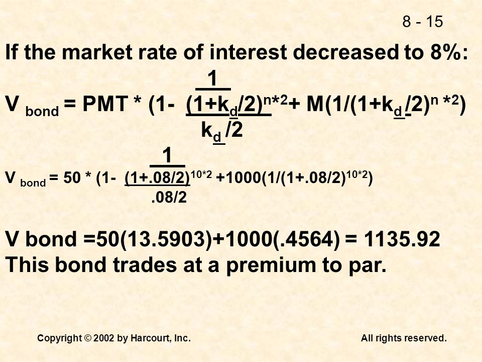 If the market rate of interest decreased to 8%: 1
