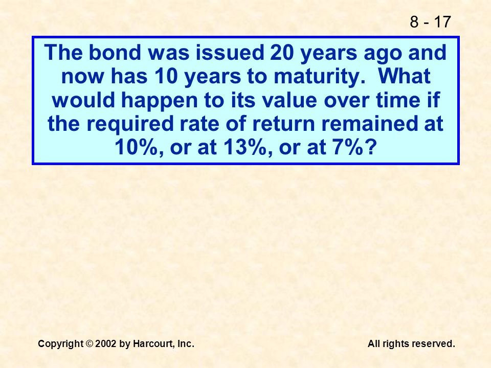 The bond was issued 20 years ago and now has 10 years to maturity
