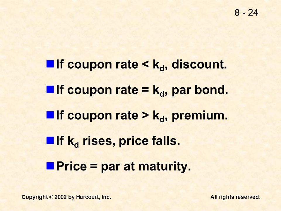 If coupon rate < kd, discount.