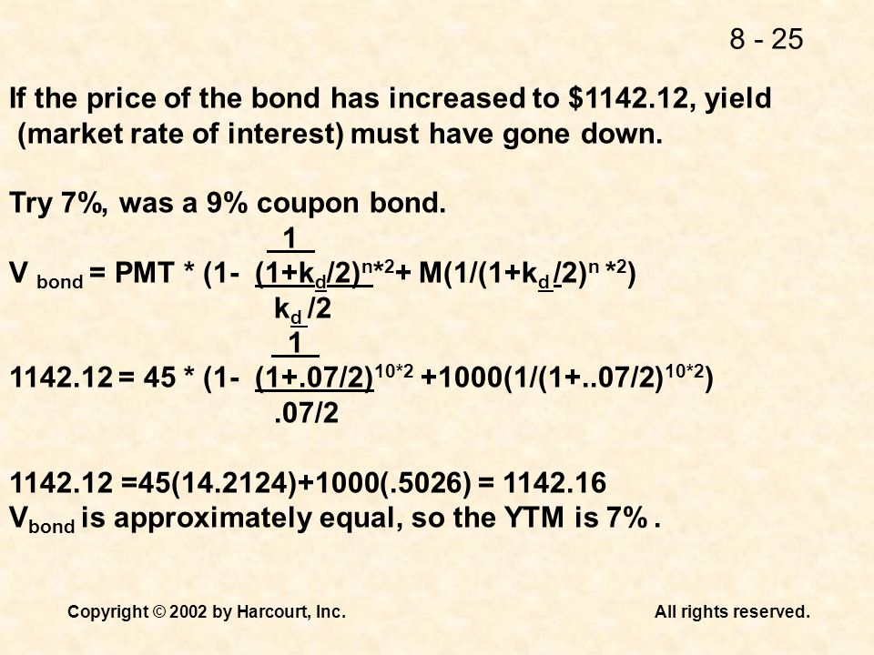 If the price of the bond has increased to $ , yield