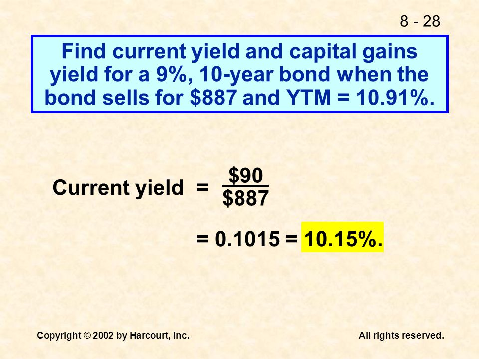 Find current yield and capital gains yield for a 9%, 10-year bond when the bond sells for $887 and YTM = 10.91%.