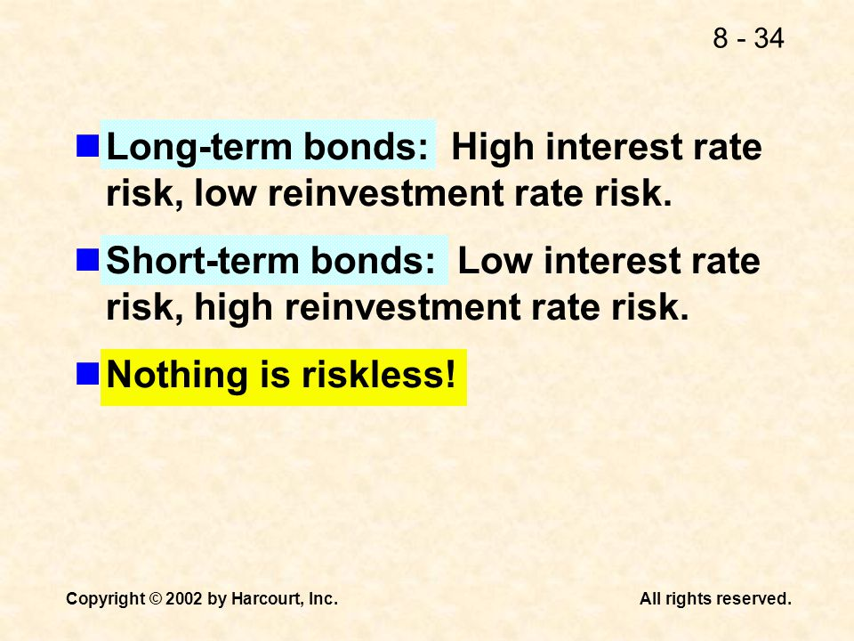 Long-term bonds: High interest rate risk, low reinvestment rate risk.
