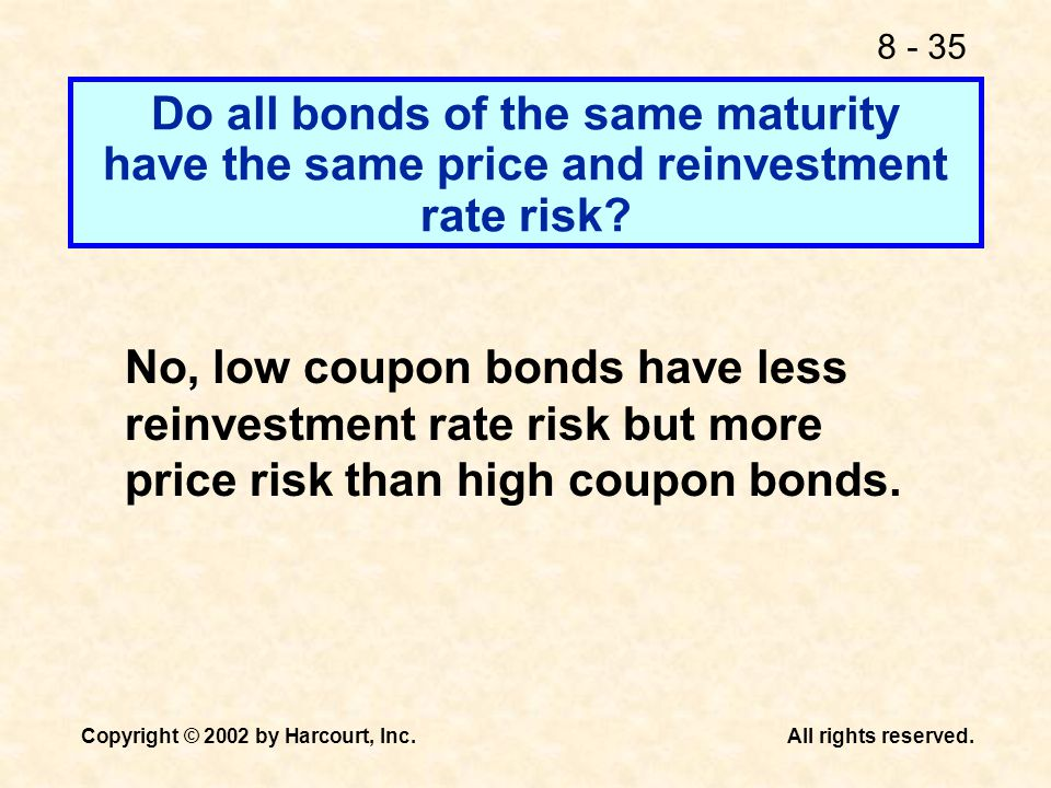 Do all bonds of the same maturity have the same price and reinvestment rate risk