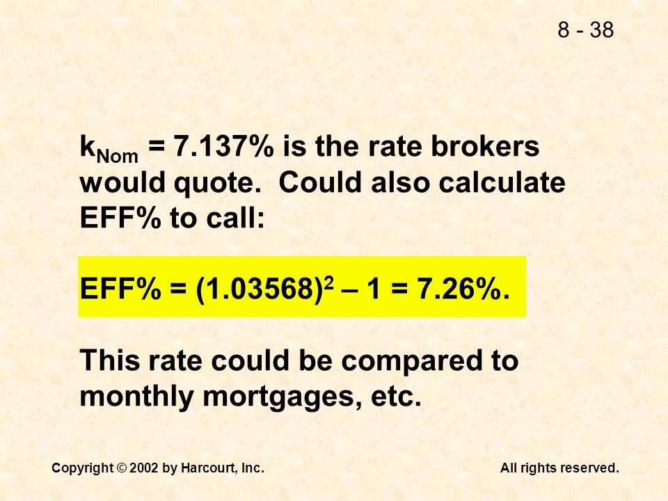 kNom = % is the rate brokers would quote