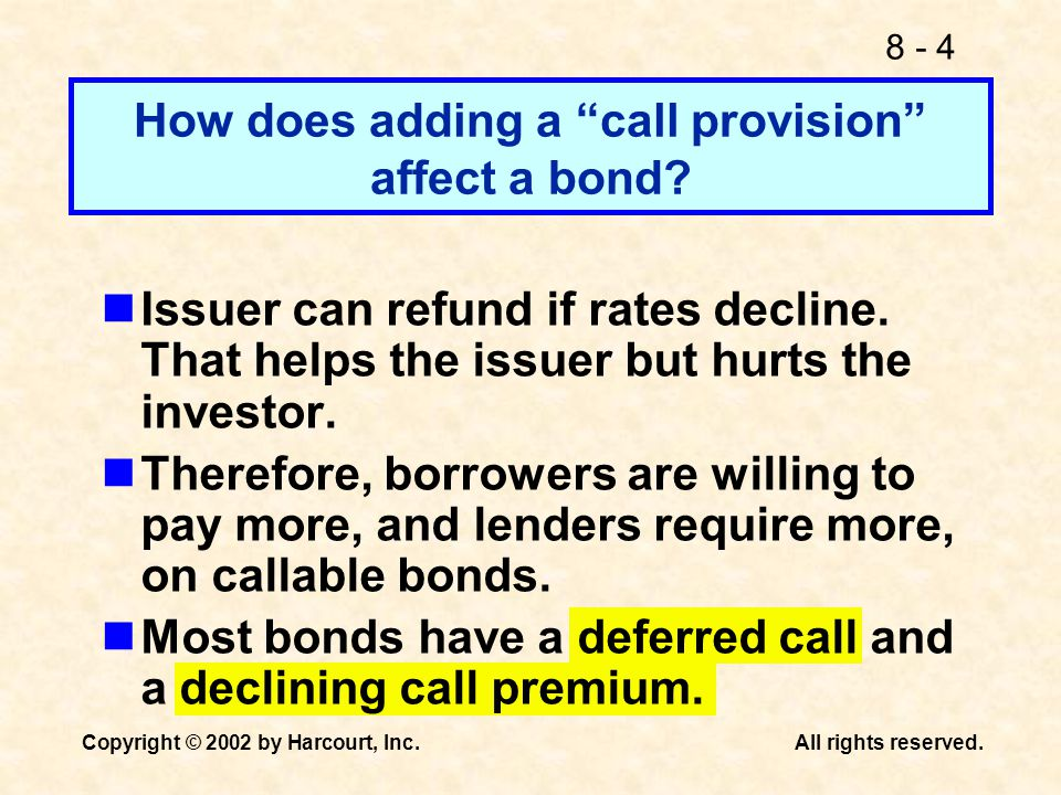 How does adding a call provision affect a bond