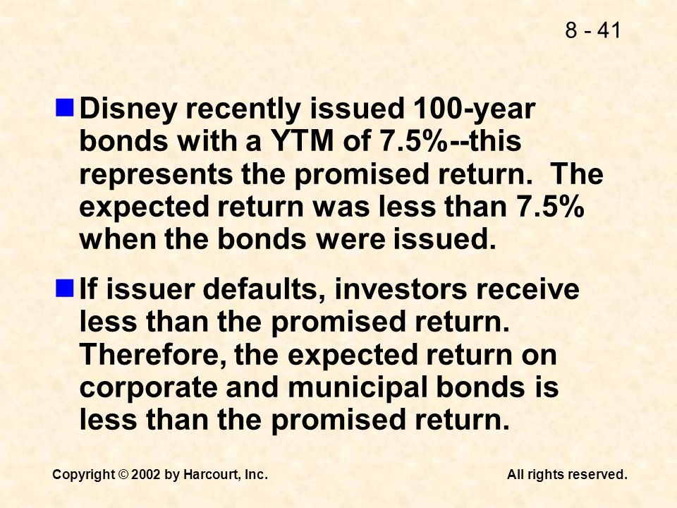 Disney recently issued 100-year bonds with a YTM of 7