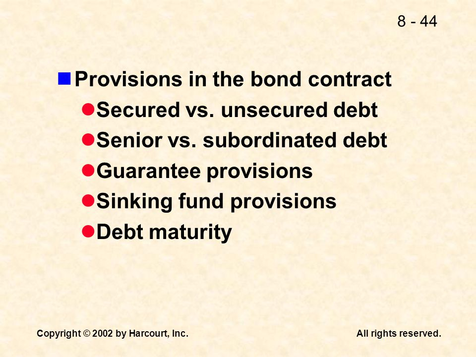 Provisions in the bond contract