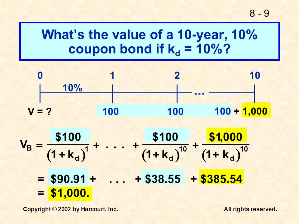 What's the value of a 10-year, 10% coupon bond if kd = 10%