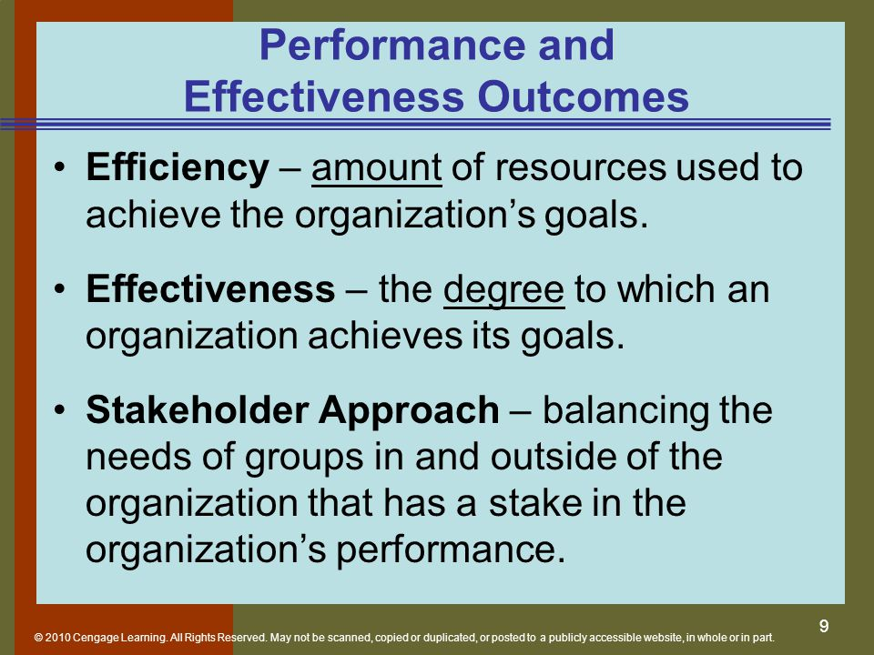 Performance and Effectiveness Outcomes