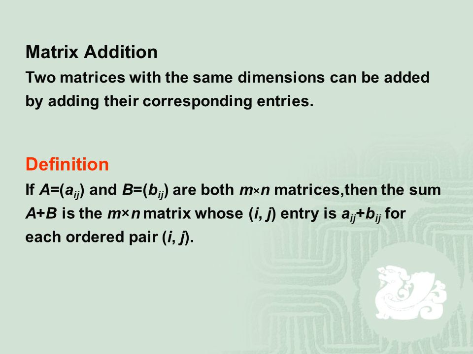 Matrix Addition Definition