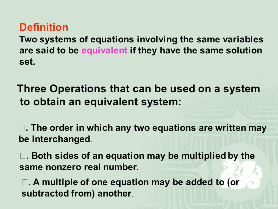 Three Operations that can be used on a system
