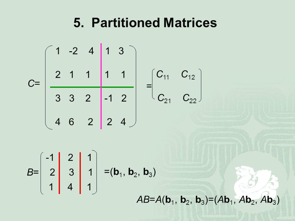 5. Partitioned Matrices = C=