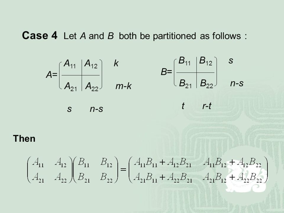 Case 4 Let A and B both be partitioned as follows:
