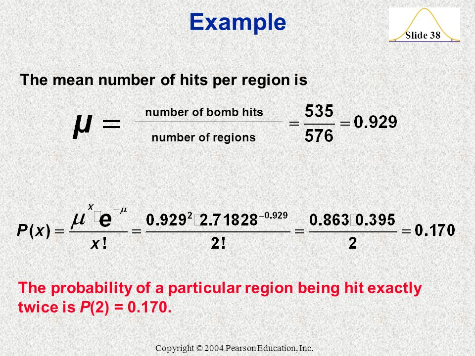 Example The mean number of hits per region is