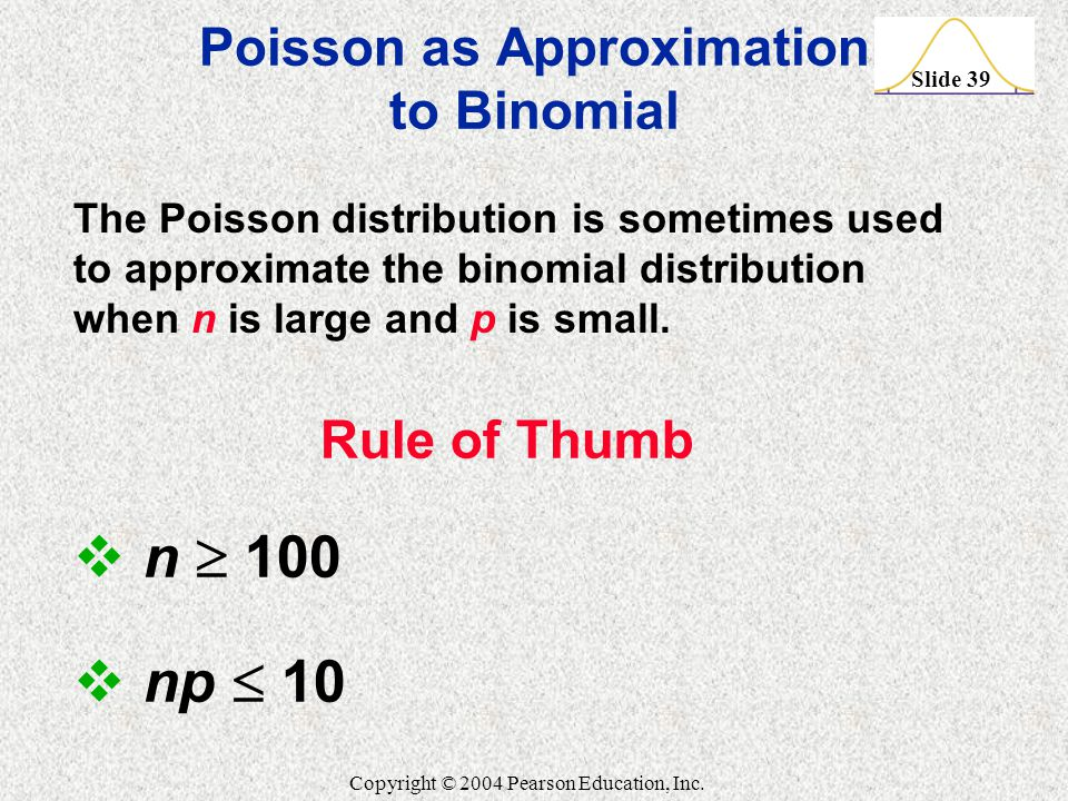 Poisson as Approximation to Binomial