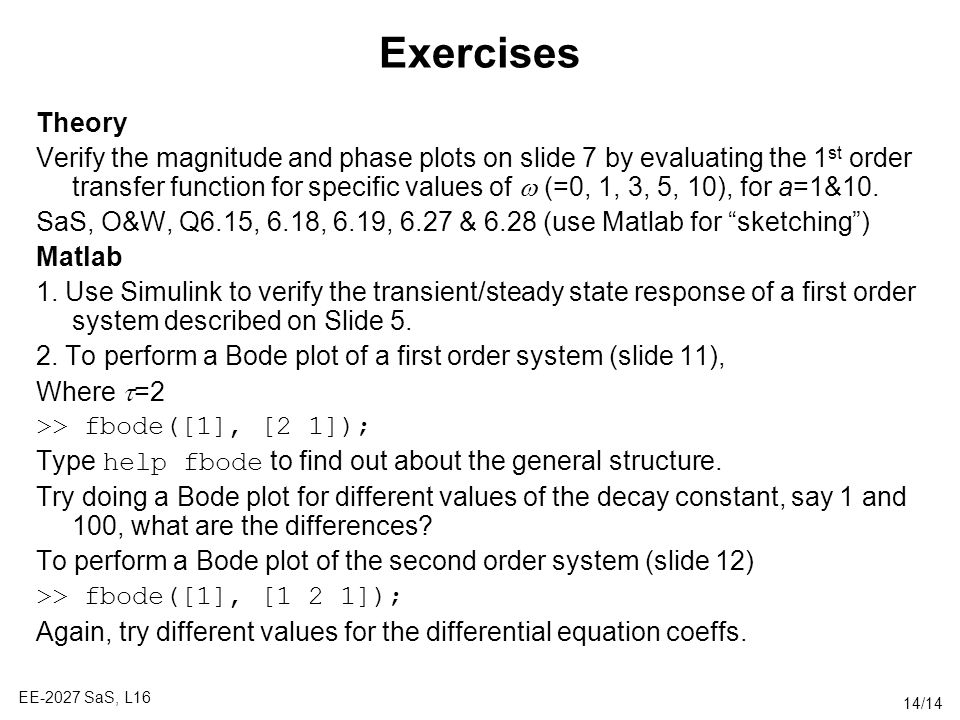 Exercises Theory.