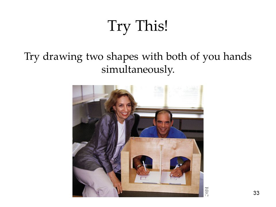 Try drawing two shapes with both of you hands simultaneously.
