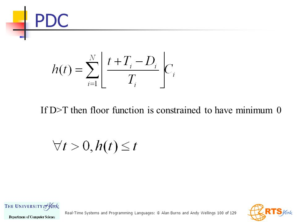 PDC If D>T then floor function is constrained to have minimum 0