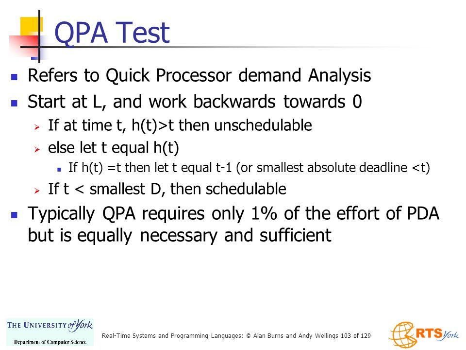 QPA Test Refers to Quick Processor demand Analysis