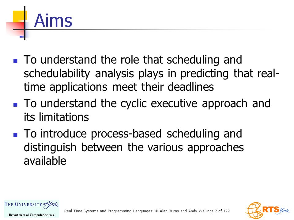 Aims To understand the role that scheduling and schedulability analysis plays in predicting that real-time applications meet their deadlines.