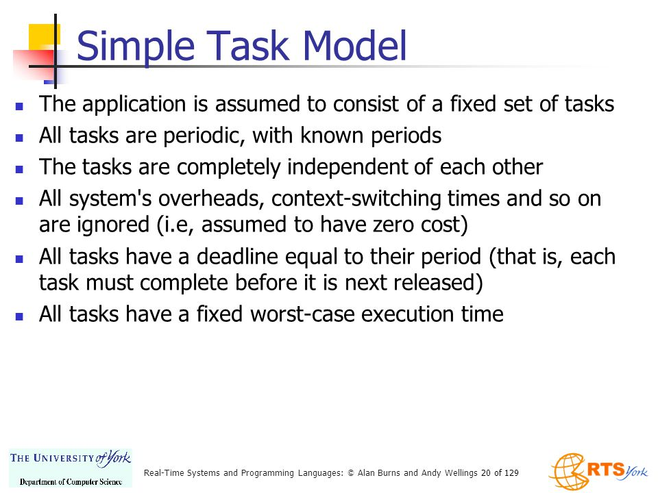 Simple Task Model The application is assumed to consist of a fixed set of tasks. All tasks are periodic, with known periods.