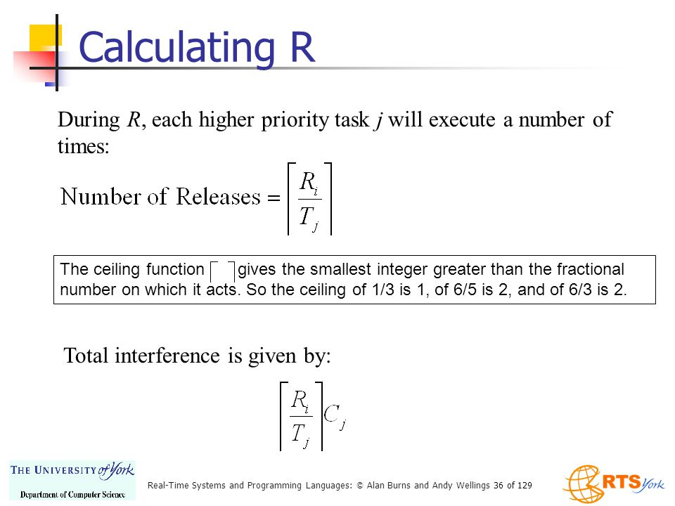 Calculating R During R, each higher priority task j will execute a number of times: