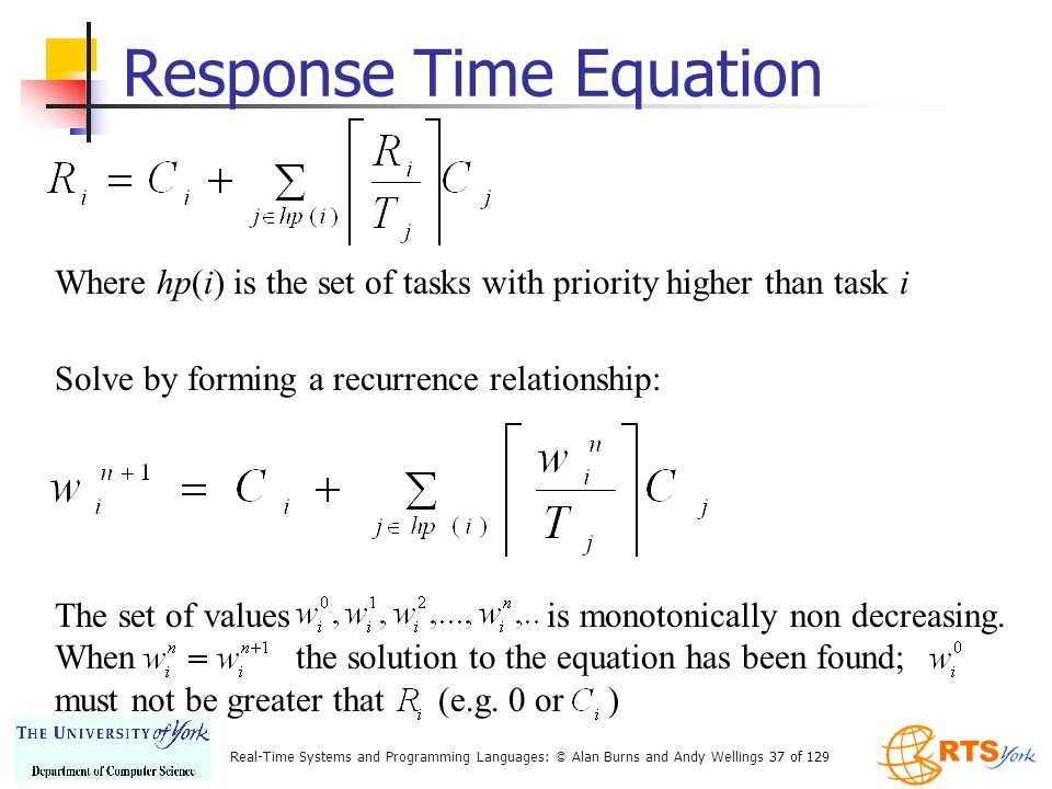 Response Time Equation