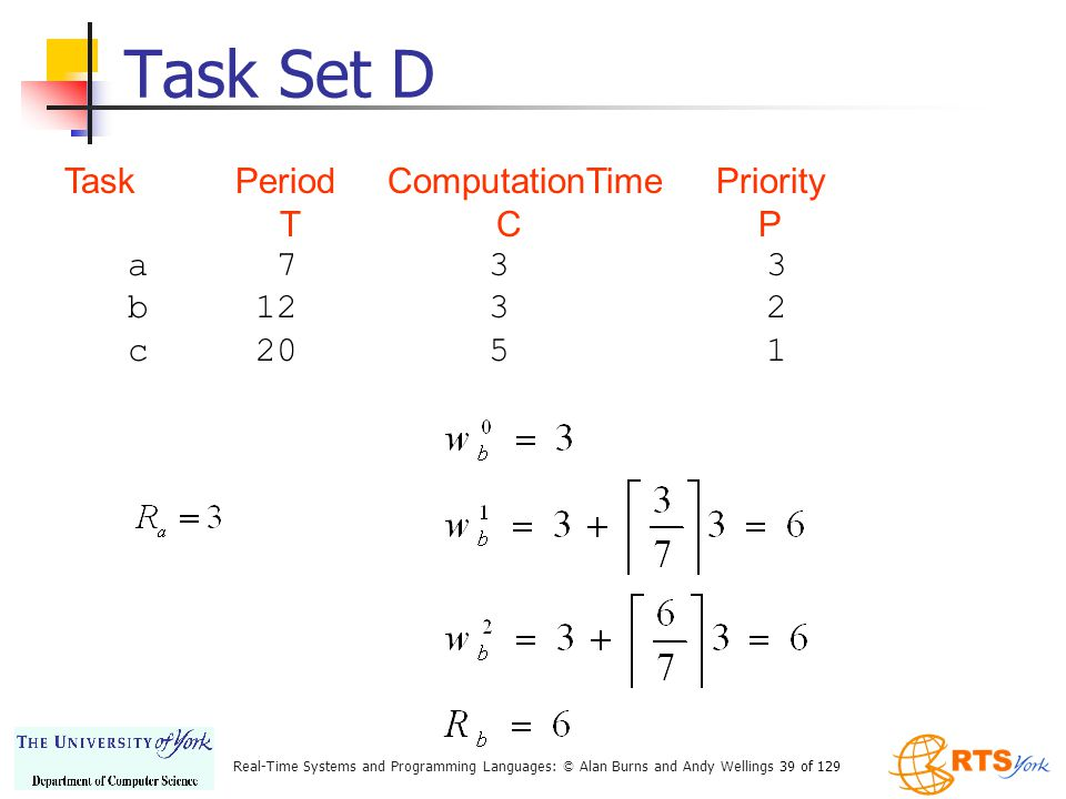 Task Set D Task Period ComputationTime Priority T C P a 7 3 3 b 12 3 2