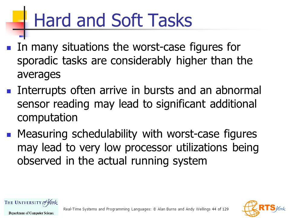 Hard and Soft Tasks In many situations the worst-case figures for sporadic tasks are considerably higher than the averages.