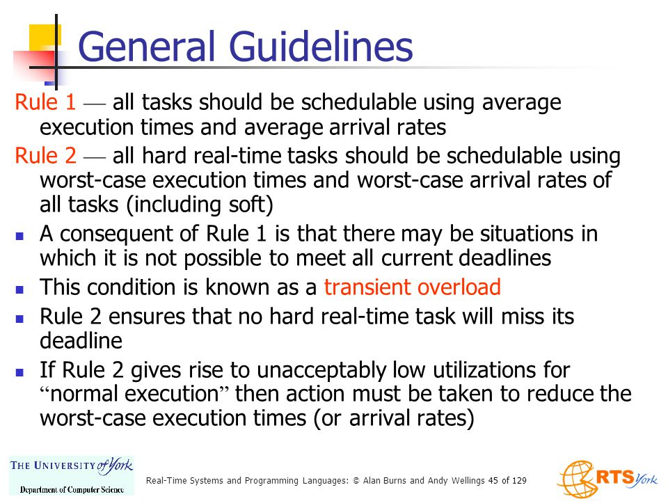 General Guidelines Rule 1 — all tasks should be schedulable using average execution times and average arrival rates.