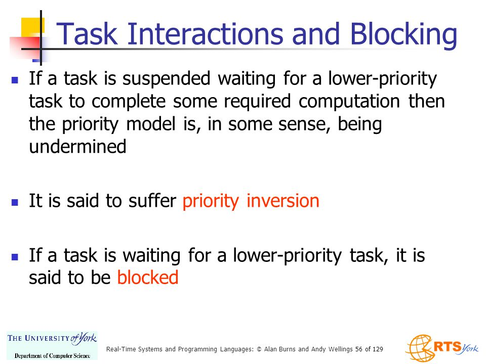 Task Interactions and Blocking