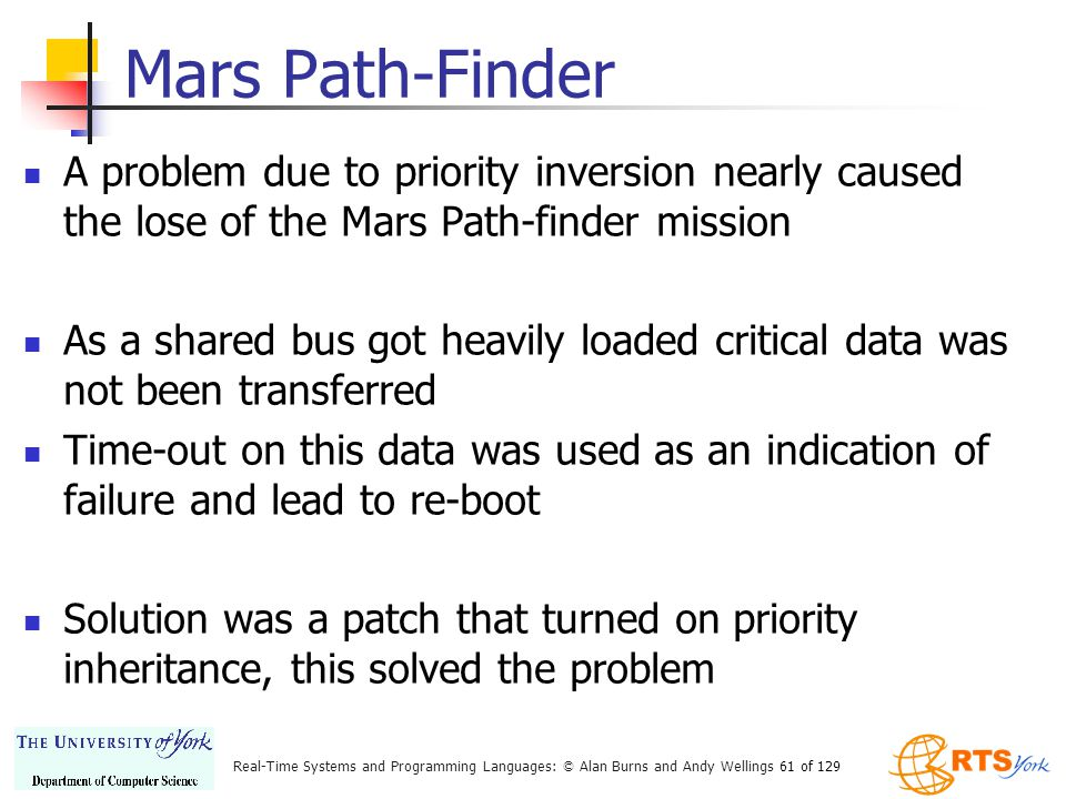Mars Path-Finder A problem due to priority inversion nearly caused the lose of the Mars Path-finder mission.