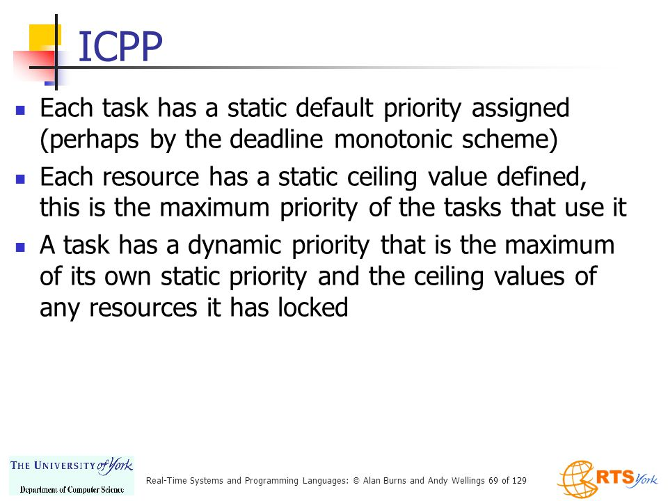 ICPP Each task has a static default priority assigned (perhaps by the deadline monotonic scheme)