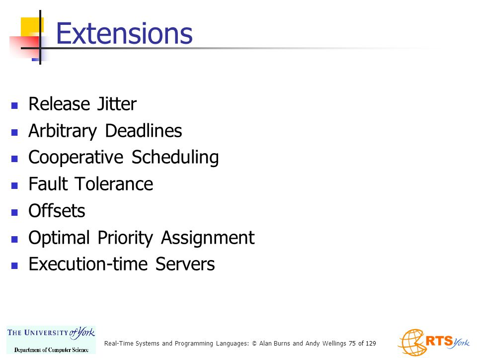 Extensions Release Jitter Arbitrary Deadlines Cooperative Scheduling