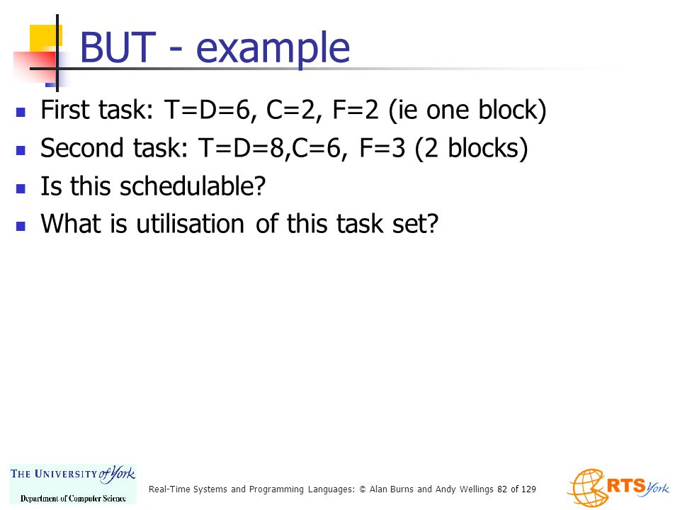 BUT - example First task: T=D=6, C=2, F=2 (ie one block)