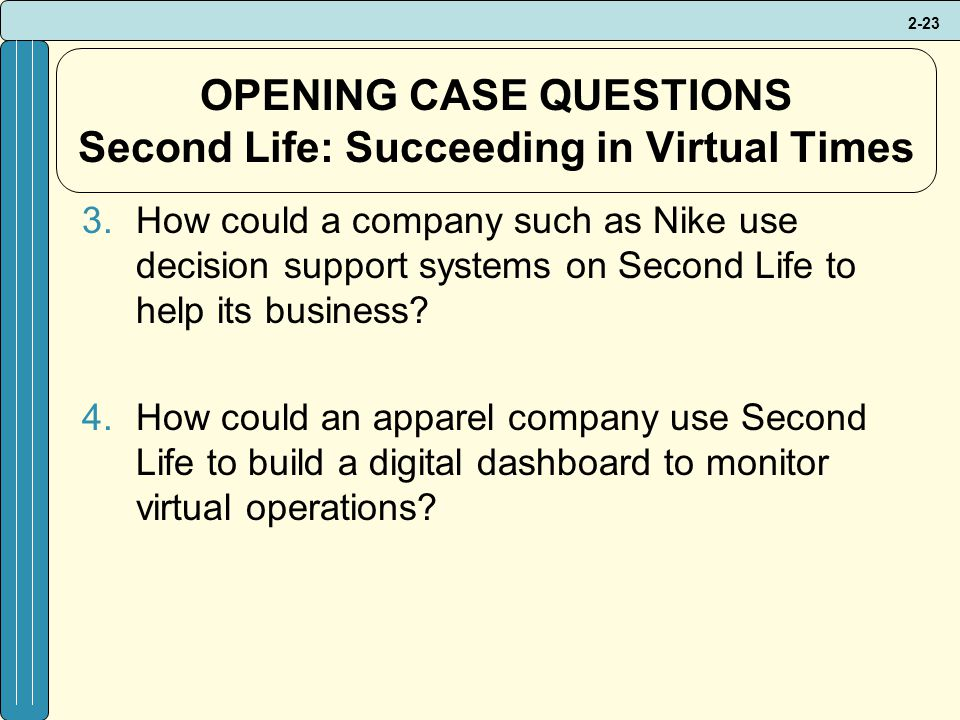 OPENING CASE QUESTIONS Second Life: Succeeding in Virtual Times