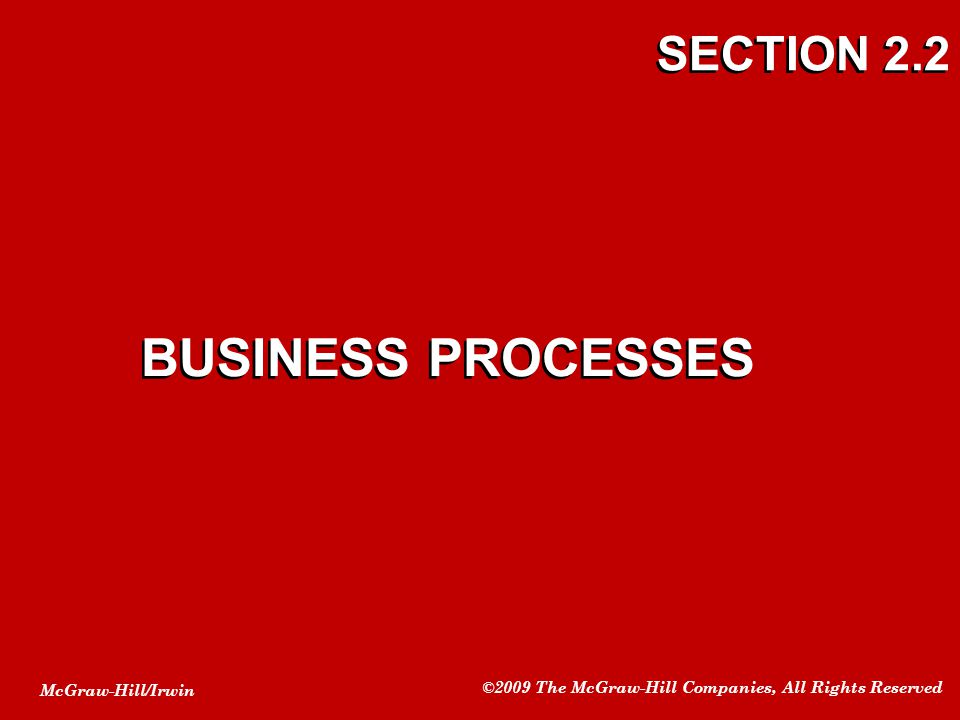 SECTION 2.2 BUSINESS PROCESSES