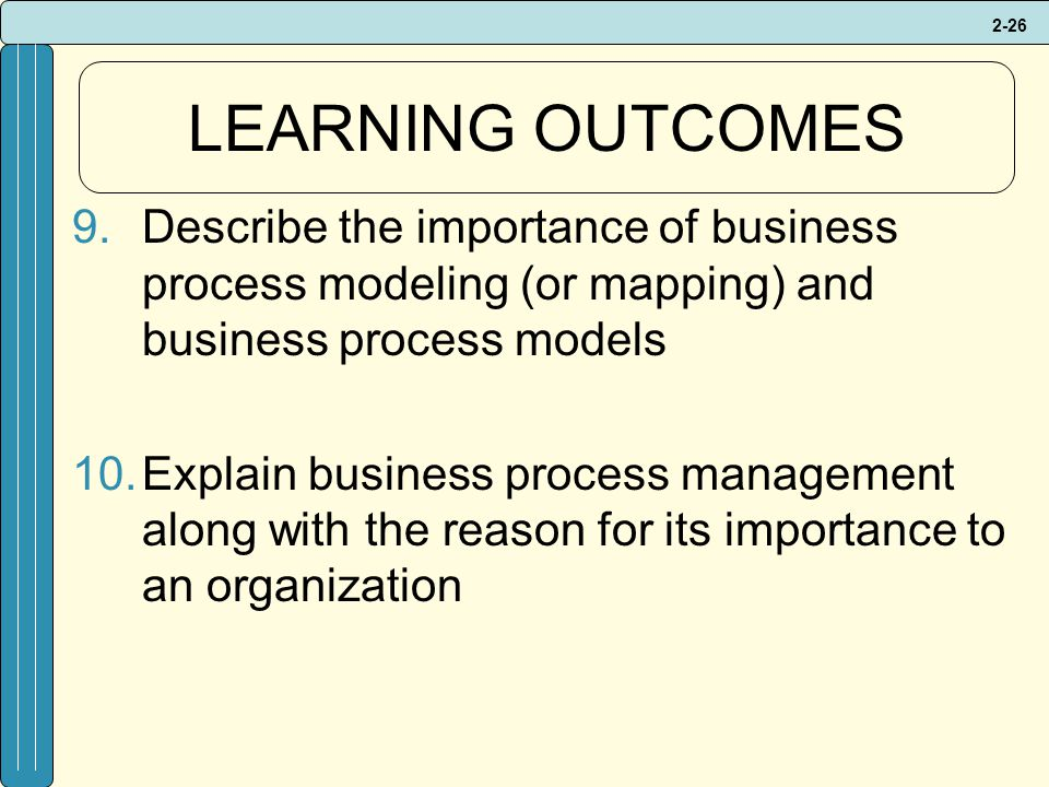 LEARNING OUTCOMES Describe the importance of business process modeling (or mapping) and business process models.