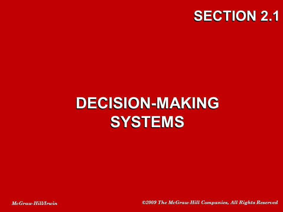 DECISION-MAKING SYSTEMS