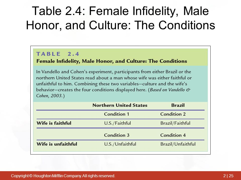 Table 2.4: Female Infidelity, Male Honor, and Culture: The Conditions