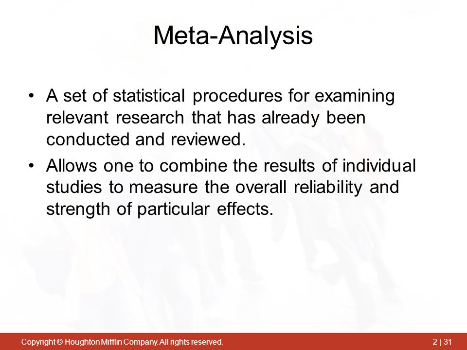 Meta-Analysis A set of statistical procedures for examining relevant research that has already been conducted and reviewed.