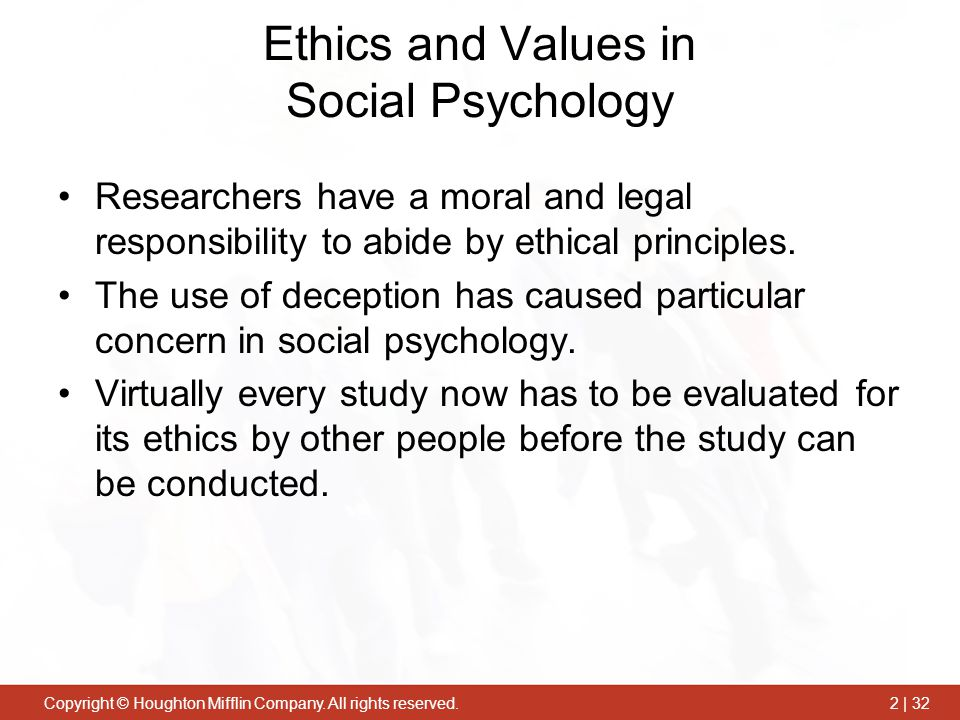 Ethics and Values in Social Psychology