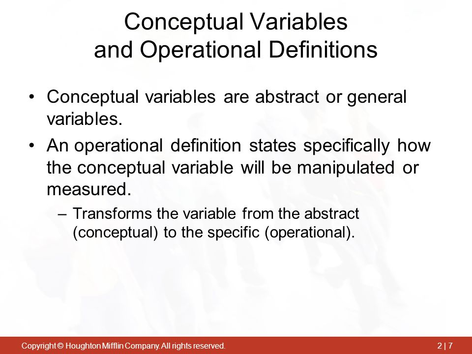 Conceptual Variables and Operational Definitions
